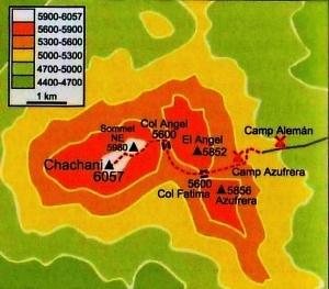 Cordillera Arequipa ascencion Chachani carte