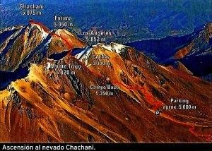 Cordillera Arequipa ascencion Chachani topo
