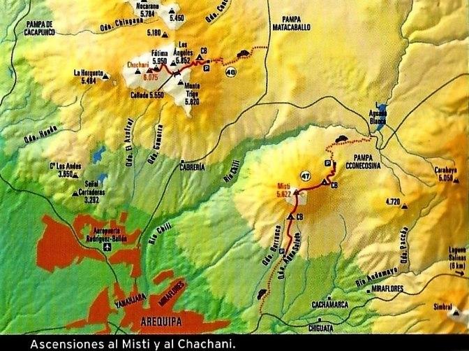 Cordillera Arequipa ascenciones Misti Chachani carte
