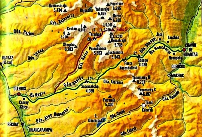 Trekking Olleros Chavin carte