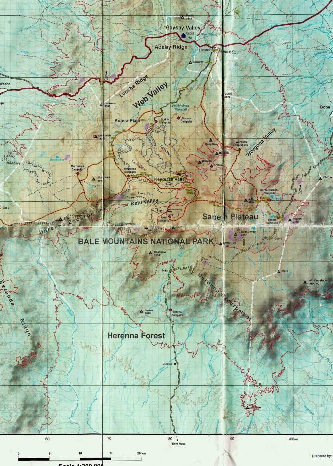 Ethiopia Bale Trekking map