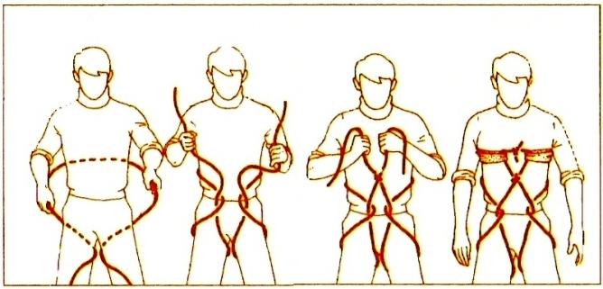 noeud harnais fessier avec corde