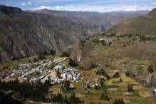 Peru-Canyon Cotahuasi Pampamarca village panorama