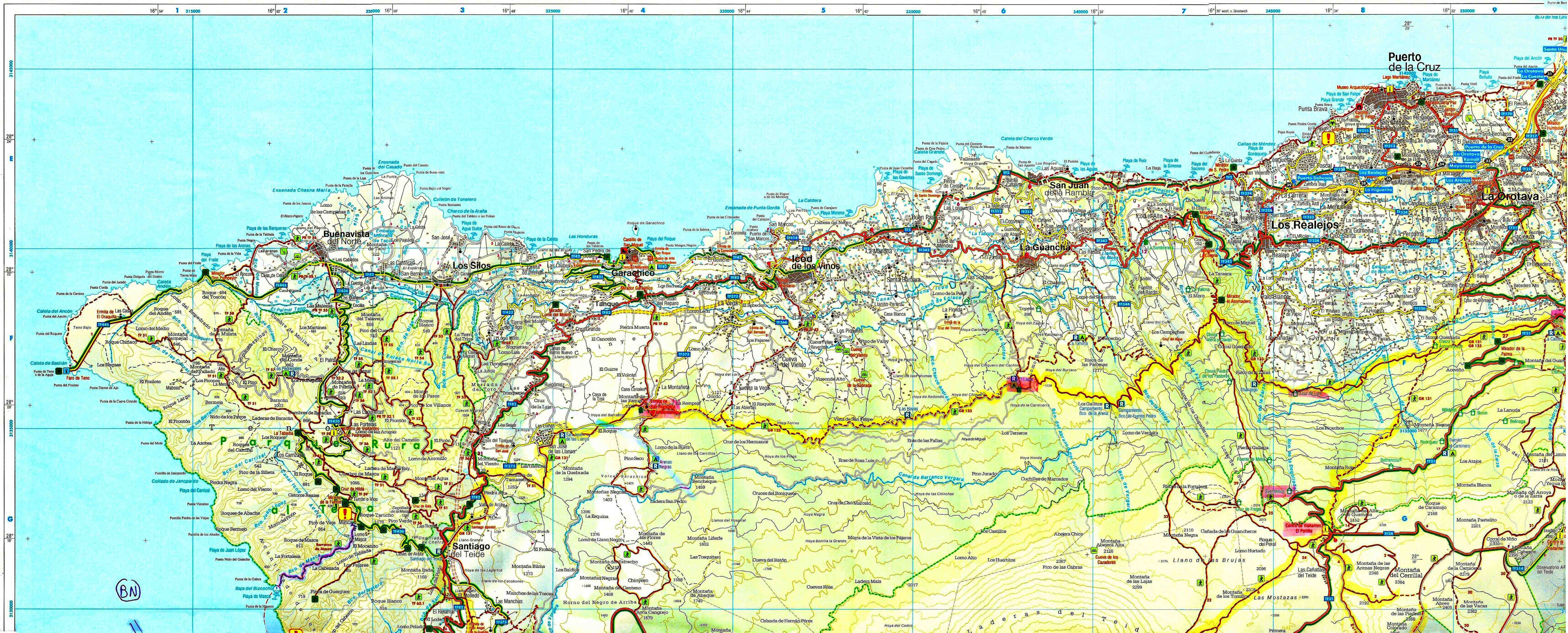 Espagne Tenerife FB carte Nord Ouest – MAYAKE