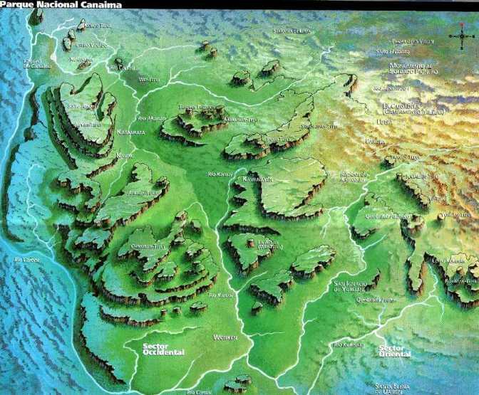 Venezuela Canaima mapa Parque Nacional
