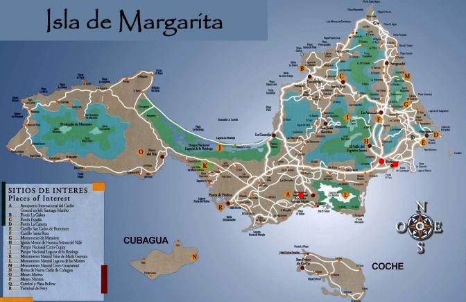 Venezuela isla margarita mapa larga