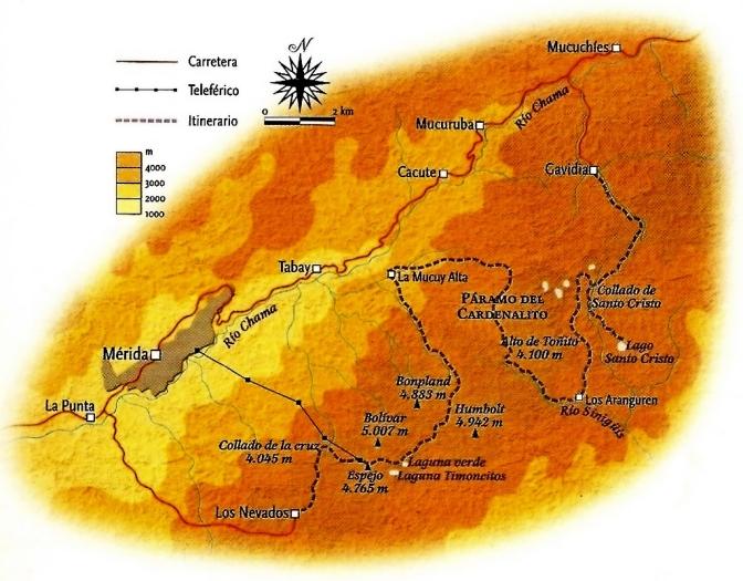 Venezuela-Sierra Nevada Carte Traversee