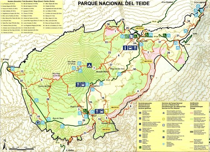 Tenerife Parque Nacional Teide Map
